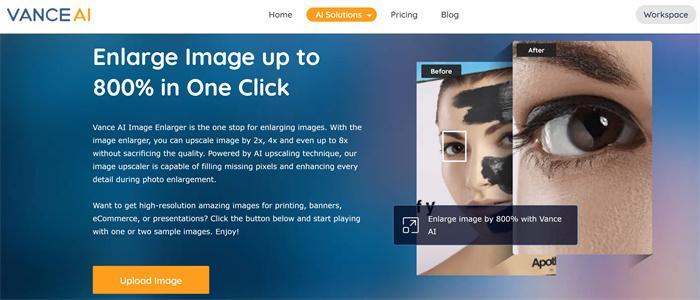 Vance AI Image Enlarger UI